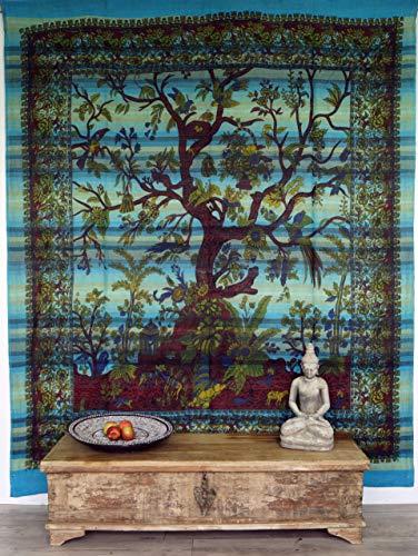 Guru-Shop Boho-Style Wandbehang, Indische Tagesdecke Lebensbaum/Tree of Life - Türkis, Baumwolle, 250x210 cm, Bettüberwurf, Sofa Überwurf