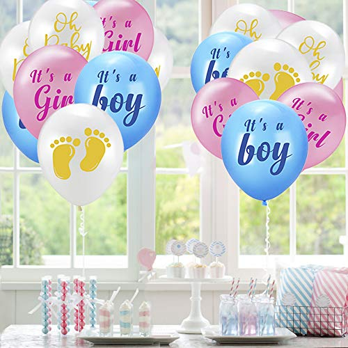 Baby Gender Reveal Party Supplies, Baby and Boy or Girl Banner, Gender Reveal Balloons with Tissue Paper Tassels Garland Set for Baby Shower Party Decorations