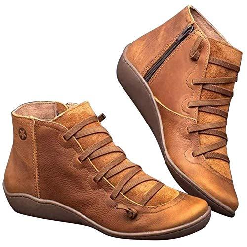 Acreny Leren enkellaarsjes, herfst, vintage, veters, damesschoenen, comfortabele vlakke hak, laarzen, ritssluiting, korte laarzen