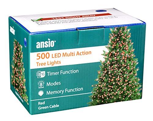 ANSIO Luci natalizie per interni e esterno 500 LED albero luci Rosso, 8 modalità con memoria e funzione timer, alimentate, trasformatore incluso 12,5 m Lunghezza illuminata- CAVO VERDE