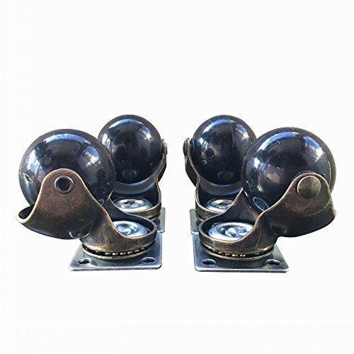 Ktroman Lot de 4 3,8 cm (40 mm) Doré antique Boule Roulette à 360 degrés Top plate Swivel Caster Chaise de bureau Desk de roue