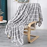 Smile Bee Flannel Fleece Blanket Throw Size, Super Soft Cozy Plush Blankets, Lightweight Microfiber Throw Blanket for Couch Sofa Bed, 50x60 inches, Grey Moroccan