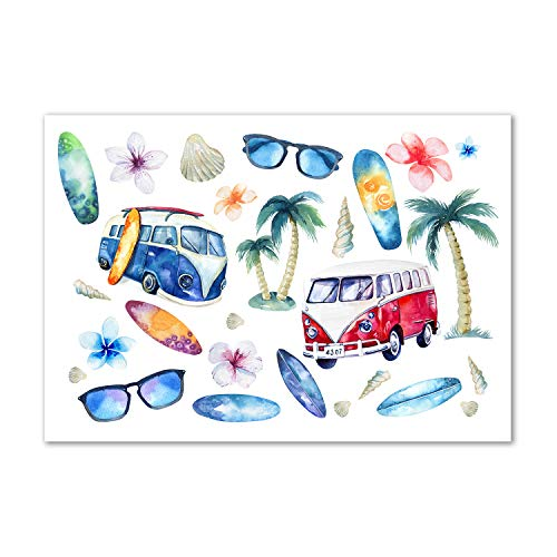Tulup Cuadro en Acryl - 100x70cm - Mural Art Deco Wall plástico Vidrio Acrílico Cuadro Pintura Acrílica - Deporte - Multicolor - Símbolos del Surf