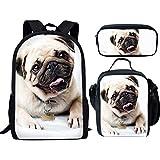 3 unidades/juegos de mochila con mochila pequeña lonchera estuche para lápices, perro carlino blanco
