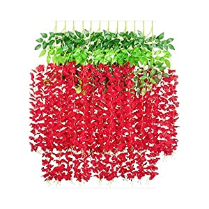 Dreamture 12 Pcs 45inch Wisteria Artificial Flower Silk Vine Garland Hanging for Wedding Party Garden Outdoor Greenery Office Wall Decor-red