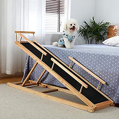 MDBT Dog Bed Ramp 2.0 for Small Dogs, Wood Pet Safety Ramps with PAWGRIP Anti-Slip Surface for High Beds, 59 in. Long Adjustable 37 in. Tall Supports Cats and Medium Dogs Up to 40 lbs