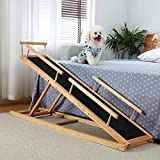 HOMOOK Small Dogs Bed Ramp(Clear Natural), Freestanding Pet Ramp with PAW Grip Anti-Slip Surface for High Beds, 59 in. Long Adjustable 37 in. Tall Supports Cats and Medium Dogs Up to 40 lbs