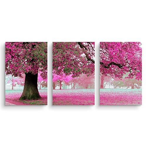 Mon Kunst, quadro componibile, stampa su tela di grandi dimensioni con albero di ciliegio, arte da parete, serie di 3 foto, ognuna di 40 cm x 60 cm, Black, 40cmx60cmx3 UnFramed