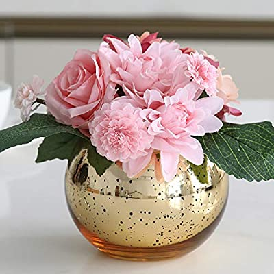 Lynnsdecor Set of 3 Bling Vase Round Golden Vase Silver Vase Rose Gold Vase Table Vase Party Vase Wedding Vase Centerpiece