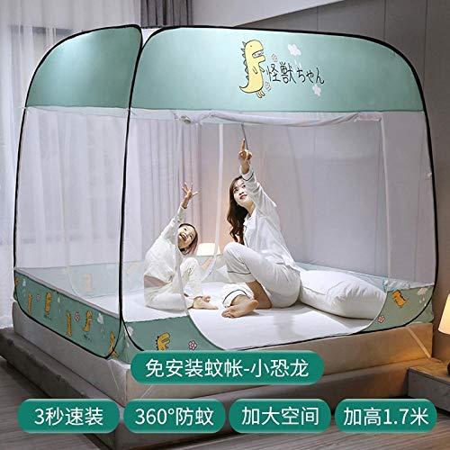 No installation of mosquito nets,three-door encryption 1.5m 1.8m bed dormitory, 1.2 pattern nets , 180 * 200cm full bottom-No need to install mosquito net-little dinosaur_200 * 220cm full bottom