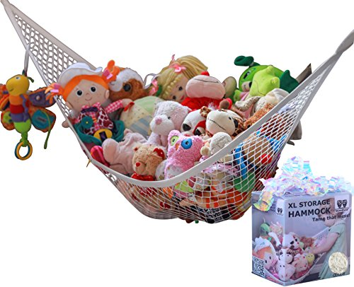MiniOwls Stuffed Toy Storage Hammock Organizer, Nursery Decor for Baby and Kids Room (White, X-Large)