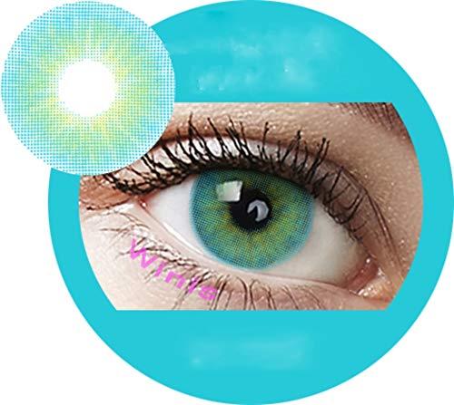 Aqua Blue: Farbige Jahres Kontaktlinsen ohne Stärke mit Aufbewahrungsbox braun blau grün grau türkis weich als 2er Pack (2 Stück) angenehm zu tragen, perfekt für helle und dunkle Augen