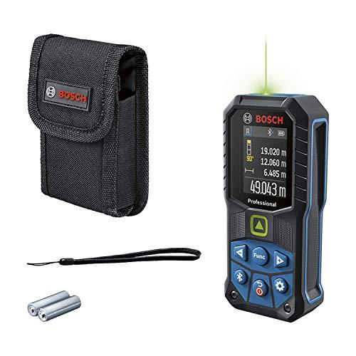 Bosch Professional Laser-Entfernungsmesser GLM 50-27 CG (grüner Laser, Reichweite: bis 50 m, robust, IP65, Bluetooth-Datenübertragung, 2 AA-Batterien, Schlaufe, Tasche)