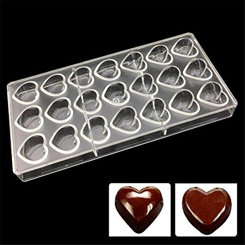 21 trous en forme de cœur Moule Moule chocolat Moules en polycarbonate, plaque de cuisson, plastique Plat de cuisson Moule à pâtisserie outils pour Candy Dessert Pâtisserie Jelly Cookie gâte