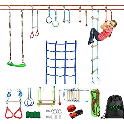 SXXJ Carrera de obstáculos Ninja Warrior para niños - 50 pies Ninja...