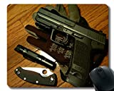 Yanteng Gaming Mouse Pad Custom, Love Gun Cuchillo Arma Mouse Pad con Borde Cosido