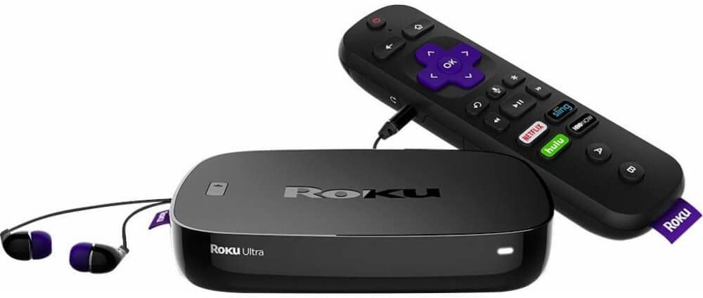 Roku Ultra | 4K/HDR/HD Streaming Player with Enhanced Remote (Voice, Remote Finder, Headphone Jack, TV Power and Volume), Ethernet, Micro SD and USB (2017)