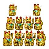 Relaxdays 10er Set Maneki Neko Winkekatze Gold, Glückskatze groß, winkende Katze China, Glücksbringer Figur, HxBxT: 16 x 10 x 8 cm
