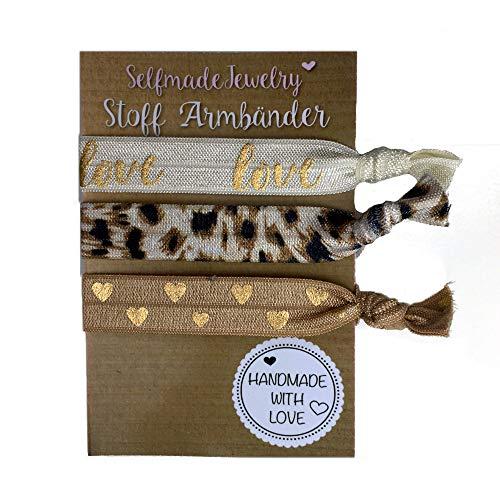 SelfmadeJewelry Jeu de chouchous/bracelets élastiques en tissu pour femme Marron/doré avec motifs de coeur/peau de léopard/mot anglais love