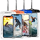 [4-Pack] Goospery Universal Waterproof Phone Pouch, Underwater Cellphone Dry Case Outdoor Beach Bag Compatible with iPhone 12 11 Pro Max Mini Xs XR X SE, Galaxy S21 S20 S10 Note20 up to 6.8'