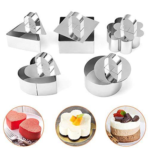 Achort 5 Stück Kuchenform Edelstahl Kuchen Ring Kuchenform Kochring Kuchenform Set mit Drücker 3 x 3 Zoll zum Kochen Mousse Desserts