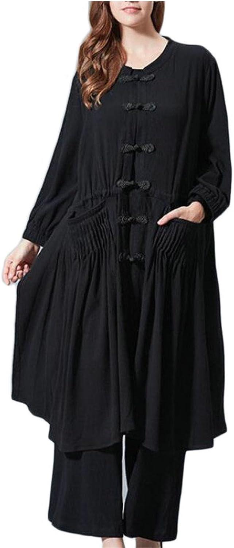 GAGA Women's Round Neck Plus Size Pocket Irregular Tunic Dress Coat + Pant Set