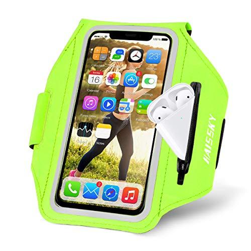 Brazalete Deportivo para Corre con Airpods Holder,HAISSKY Brazalete Móvil Deportivo para iPhone 11 Pro MAX/iPhone 11 Pro/iPhone XS MAX/iPhone XR/ 8 Plus/8 Galaxy S9/S8 Plus,Huawei P20 hasta 6.8'