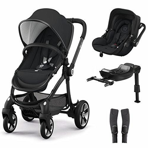 Kiddy Evostar 1 Kinderwagen + Evoluna i-Size Autositz + Isofix Base 2 + Adapter. Farbe: Onyx Schwarz