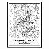 Clermont-Ferrand Francia Mapa de pared arte lienzo impresión cartel obra de arte sin marco moderno mapa en blanco y negro recuerdo regalo decoración del hogar