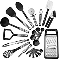 Lux Decor 23-Piece Stainless Steel Kitchen Utensil Set (Black)