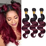 Ombre Burgundy Human Hair 3 Bundles(16' 18' 20') Grade 9A Brazilian Virgin Hair Body Wave Bundles Ombre Hair Weave Human Hair Bundles Deals Color T1B/99J