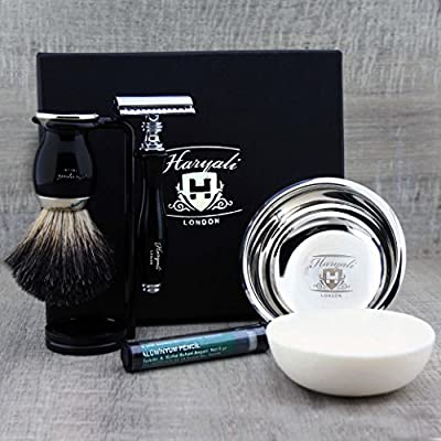 Black Shaving Set Featuring Pure Black Badger Brush & De Safety Razor Along with Soap & Stainless Steel Bowl. Perfect Shaving Set.