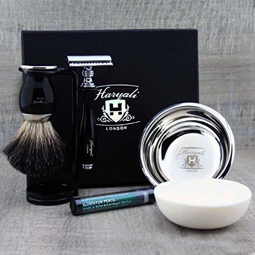 Set de afeitado negro con cepillo de tejón negro puro y maquinilla de afeitar de seguridad junto con jabón y cuenco de acero inoxidable. Juego de afeitado perfecto.