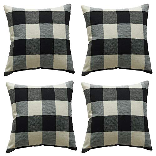 ZBW Impex - Pack of 4 - Buffalo Plaid Check Cushion Covers Decorative Pillowcase For Home Sofa Bedroom Living Room 18 x 18 inch (Black White)
