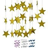 DIWULI, 4 m XXL Stella Stella Ghirlanda da Appendere, Stella gagliardetto Catena d'oro, Stella Bandiera Bandiera Festa di Compleanno, Festa di Giardino, Ragazza Ragazzo vivaio, Decorazione