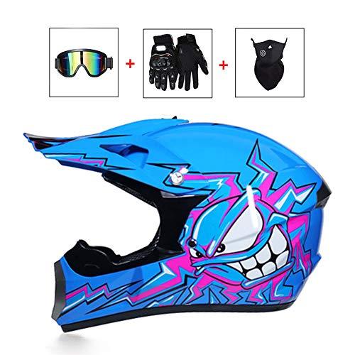 LEENY Motocross-Helm, Blau Monster Crosshelm mit Brille/Maske/Handschuhe, Herren Motorradhelm Off-Road Sport ATV MTB BMX-Helm Quad Motorräder Racing Downhill Enduro Cross Helm für Männer Damen,L