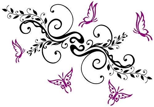 DD Dotzler Design - Autoaufkleber Wandtattoo - 18092013 - Blumenranke mit 5 Schmetterlingen - Farbkombination wählbar - schnörkl schnörkel