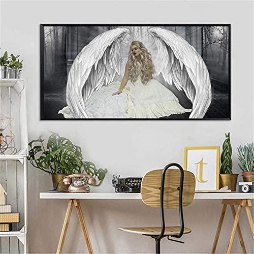YHJK Póster Obras de Arte Alas de ángel Modernas Carteles de Pared Impresiones Alas de niña abstractas Imágenes artísticas de Plumas para la Sala de Estar Decoración del hogar 70x140cm sin Marco