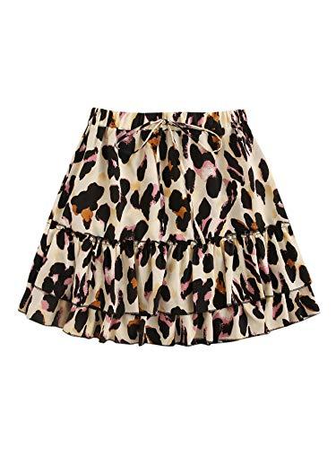 SheIn Women's Leopard Print Drawstring Waist Layer Ruffle Hem Short Skirt Apricot Pink Small