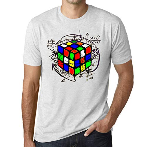 Ultrabasic - Unisex Cubo de Rubik Camiseta Rubikcube Magic T-Shirt Blanco Moteado