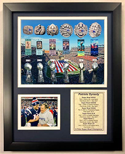 "LND New England Patriots Dynasty 6-Time Champions - 12"" x 15"" Framed Photo Collage"
