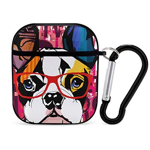 Funda para Airpod, color negro, Bulldog francés con gafas de sol portátiles y a prueba de golpes, accesorios para Airpods 2 y 1 con llavero