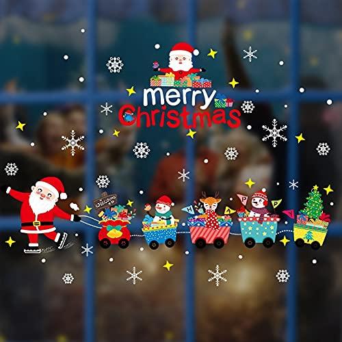 Pegatinas estáticas navideñas, calcomanías para escaparates, decoración de azulejos de vidrio, pegatina de feliz Navidad para decoración del hogar de Año Nuevo, bricolaje