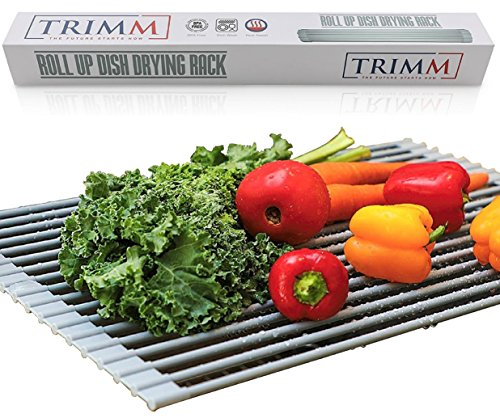 Over the Sink Drying Rack, Kitchen Dish Drainer, Supremely Versatile Dish Drying Rack, Rollable BPA-Free Silicone Coated Cooling Rack, Handy Drain Board Mat for Over Sink Salad Prep Grey by Trimm