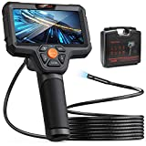 DEPSTECH 1080P Dual-Lens Endoscope, Borescope with 5' IPS Screen, 7.9mm HD Inspection Camera with LED Flashlight, 32GB Card, 5000mAh Battery, Portable Hard Case, Detachable Snake Cable Camera