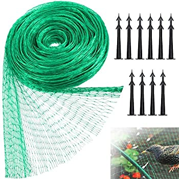 Szsrcywd Green Anti Bird Protection Net,Mesh Garden Netting with 10 Pieces Garden Tacks,Reusable Fencing Protect Seedlings,Plants,Flowers,Fruit,Vegetables Against Birds,Rodents 13Ft x 33Ft/4M x 10M
