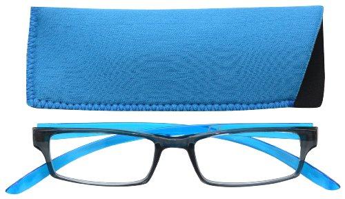 UV Reader Nero Blu Brillante Collo Specs Occhiali da Lettura Uomo Donna Astuccio Compreso UVR020 Diottria +2,50