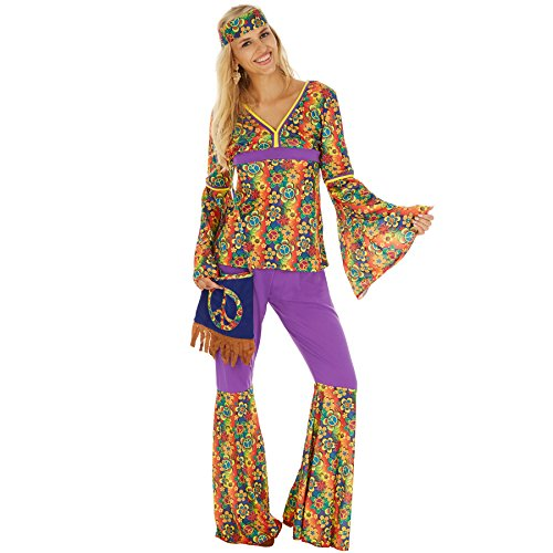 TecTake dressforfun Disfraz de Hippie para Mujer | Parte Superior y Pantalón | Incl. Pequeño Bolso con Símbolo de la Paz (XXL | No. 300946)