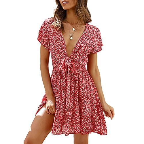 Olisenci Damen Little Dots/Blumenmuster Kleid, Mode Casual V-Ausschnitt Rüschenärmel Druck Knielanges Kleid (Rot 7, S, s)