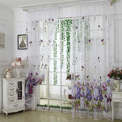 Kuizhiren1 - Cortinas opacas con aislamiento térmico para dormitorio/cocina/salón, flor de peonía, hogar, dormitorio, tul de gasa, cortina de ventana